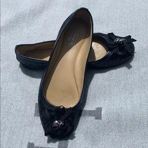 Coach black, sequined ballet flats
